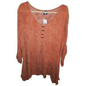 Cal Style Rust/Orange Color L Sleeve Tunic Top 3X